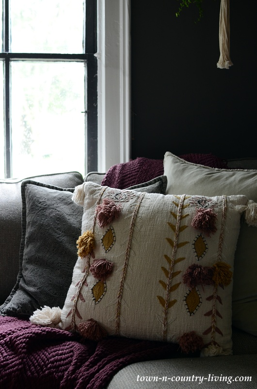Boho Chic Pillows in a Hygge Family Room