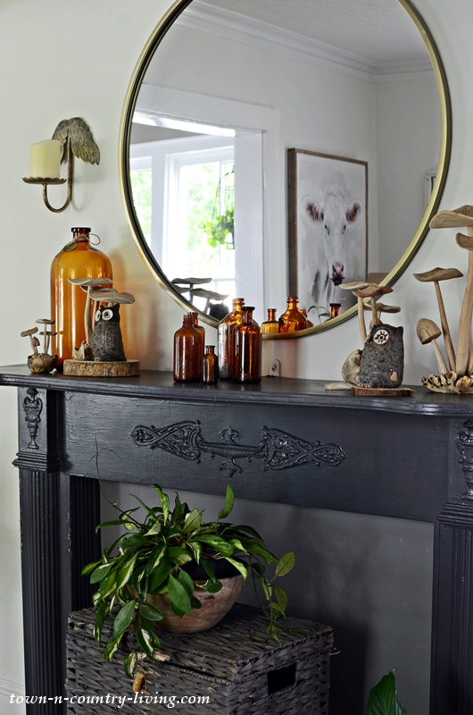 Vintage Black Mantel Decorated for Fall