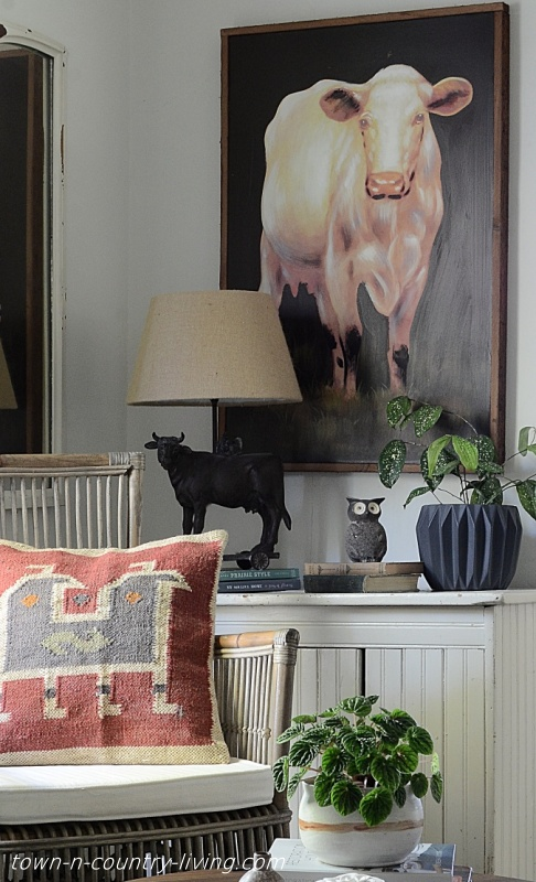 Dark Cow Painting in Sitting Room