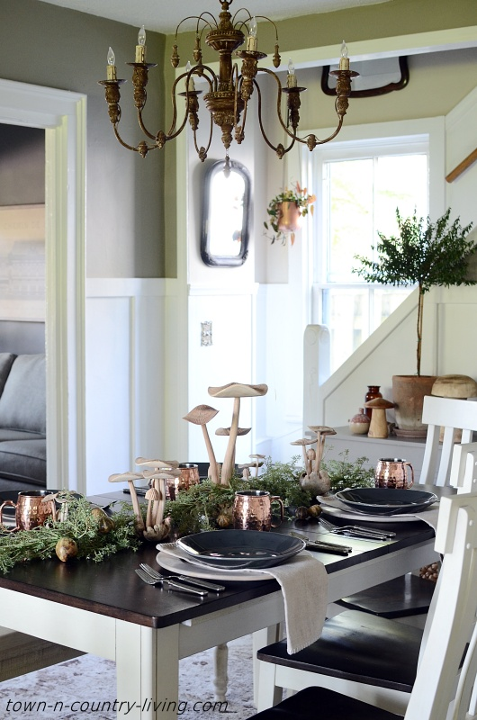 Nature Inspired Dining Room with Fall Table Setting