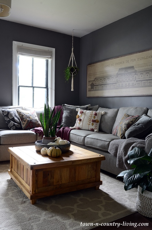 Dark Gray Family Room Painted in Moles Breath by Farrow and Ball