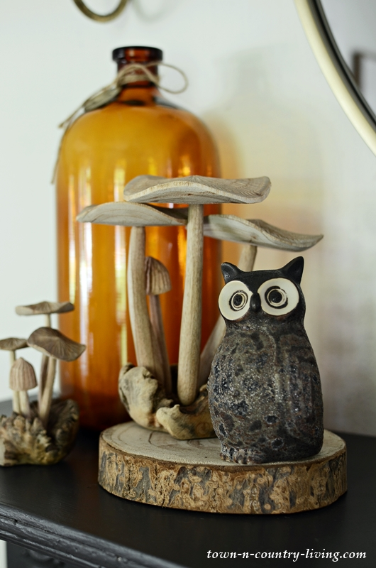 Fall Mantel with Mushrooms and Owls