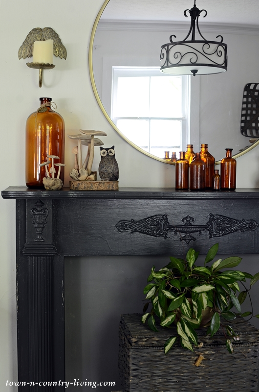 Brown Vintage Bottles on Black Mantel