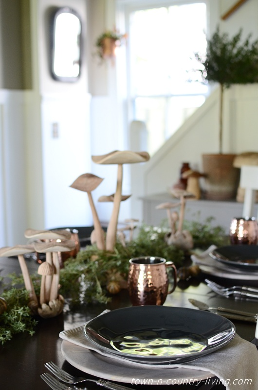 Mushroom Centerpiece for Fall Table Setting