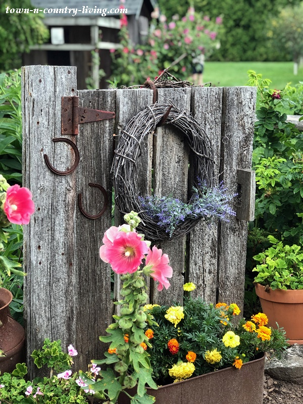 Country Garden Gate with Rustic Wreath and Flowers
