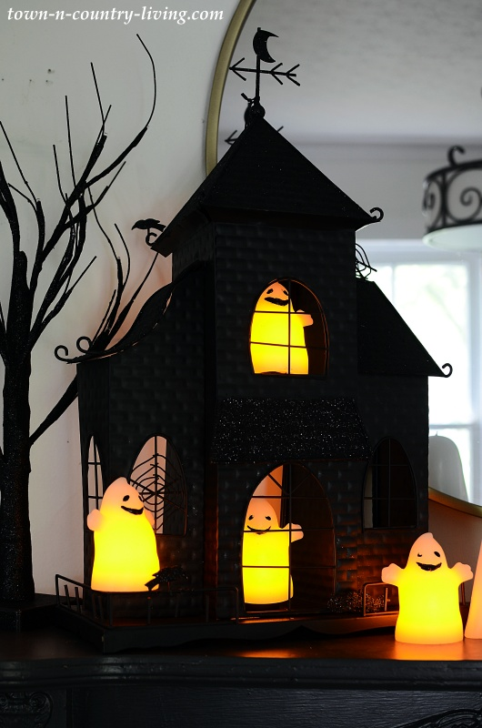 Black Haunted House with LED Ghost Lights