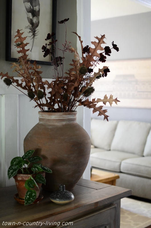 Large Clay Pottery Jar with Fall Florals