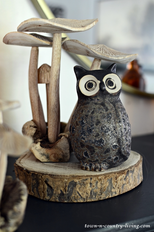 Owl and Mushrooms in Fall Decor