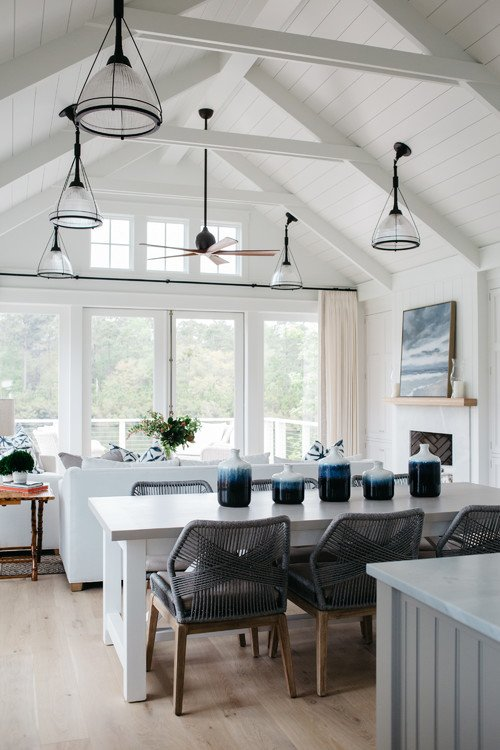 Blue and White Great Room with Vaulted Ceiling