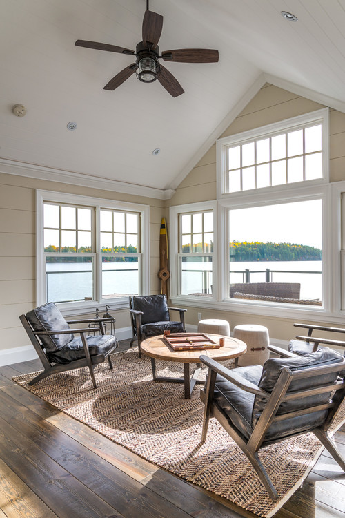 Family Room with Expansive Windows and Lake View