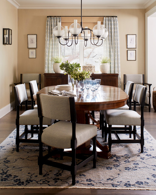Traditional Dining Room in Cream and Blue-Gray