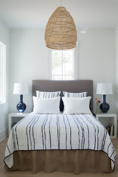 Beach Style Bedroom with Rattan Pendant Light