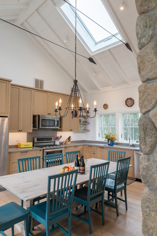 Farmhouse Kitchen with Vaulted Ceiling