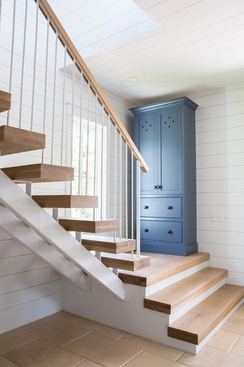 Open Stairway in Palmetto Bluff beach style home