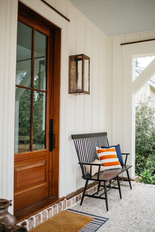 Farmhouse Style Front Porch with Solid Wood Door