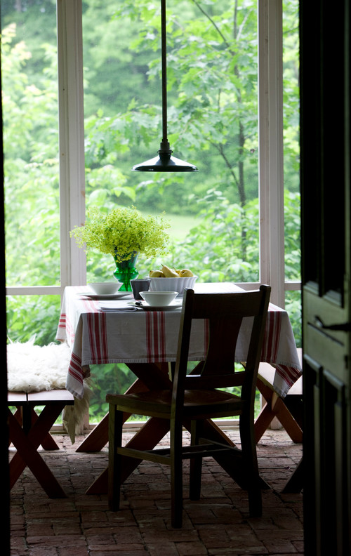 Small Space Dining on Enclosed Porch