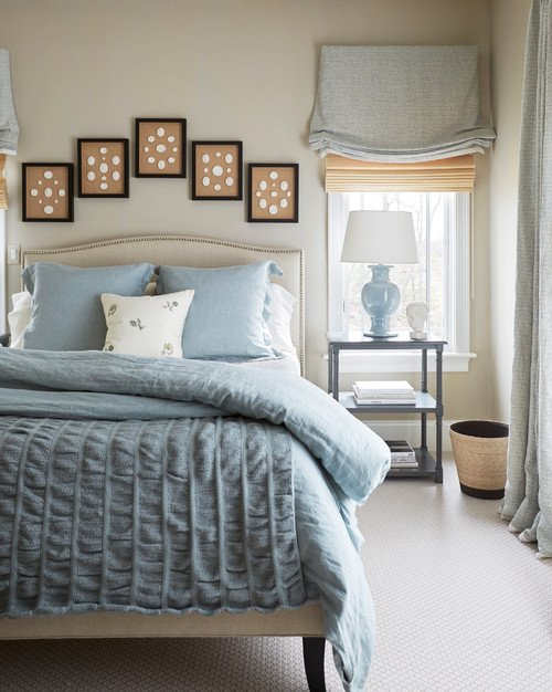 Soft Bedroom in Cream and Blue-Gray