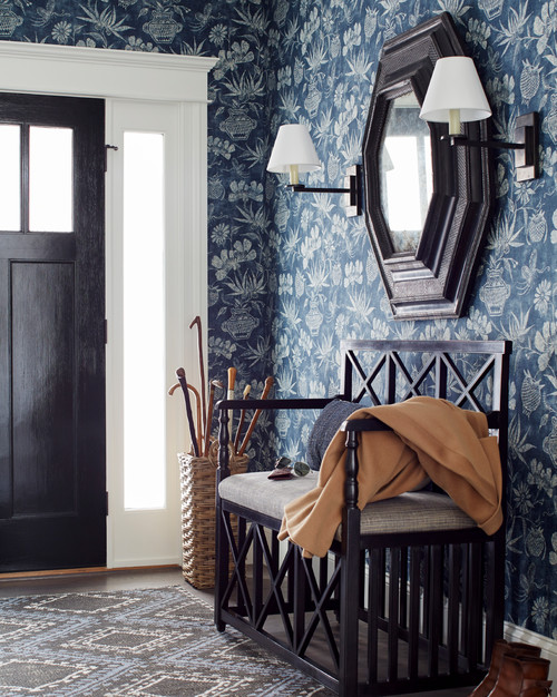 Traditional Entryway with Dark Blue Wallpaper