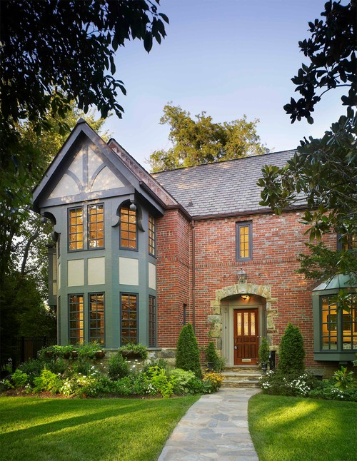 Traditional Brick Home with Tudor Styling