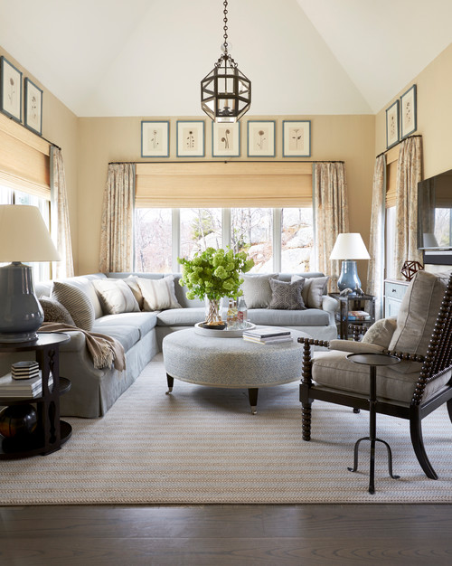 Cream and Gray-Blue Family Room with Sectional Sofa