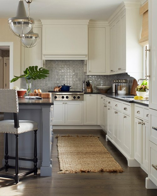Traditional Kitchen with Off-White Cabinets and Gray-Blue Kitchen Island