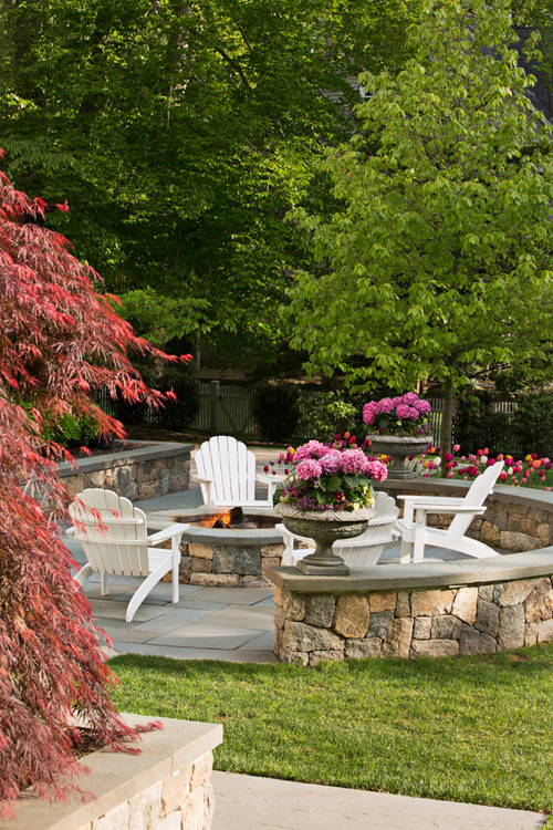 Formal Courtyard Patio with Fire Pit and Adirondack Chairs