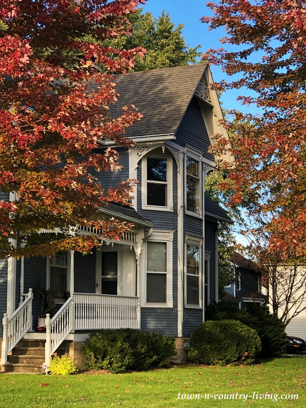 Gray Victorian Home in Huntley, Illinois in the Fall