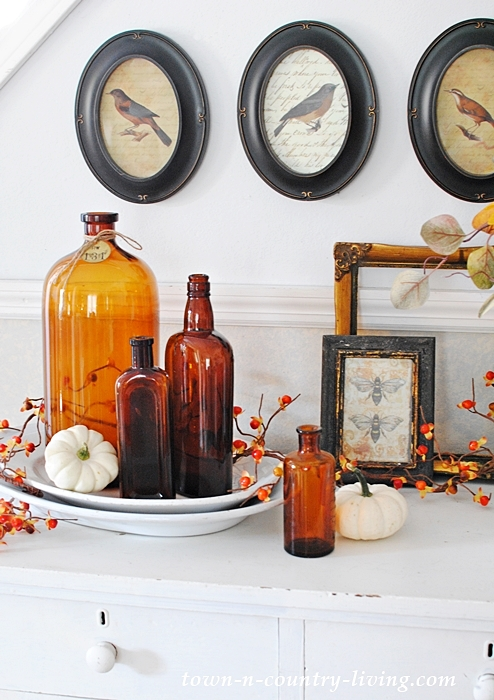 Fall Vignette with Vintage Amber Bottles