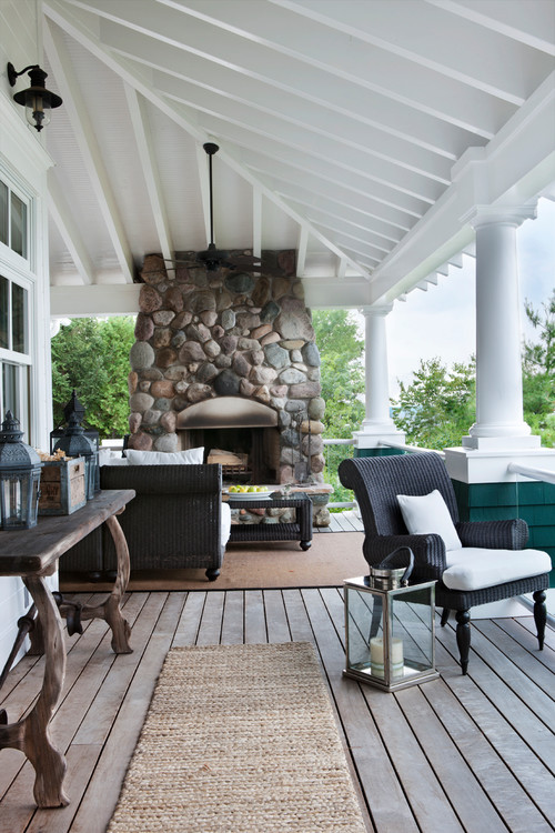 Farmhouse Porch with Fireplace