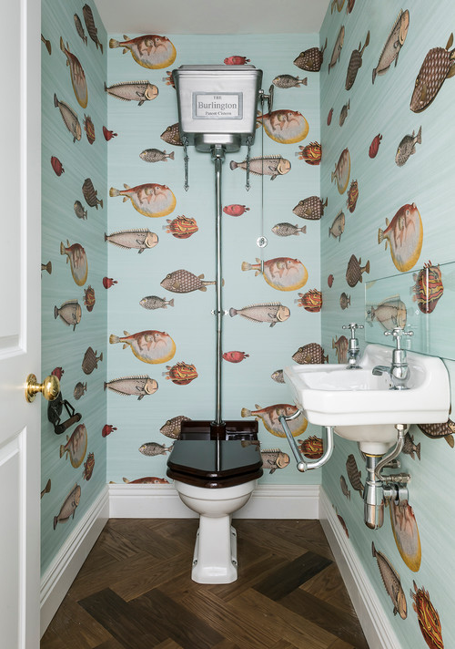 Fish wallpaper in old-fashioned bathroom