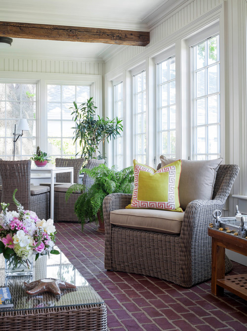Traditional Sun Room with Brick Floor