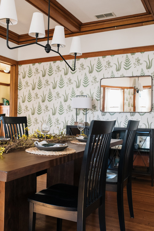 Craftsman Dining Room with Fun Wallpaper