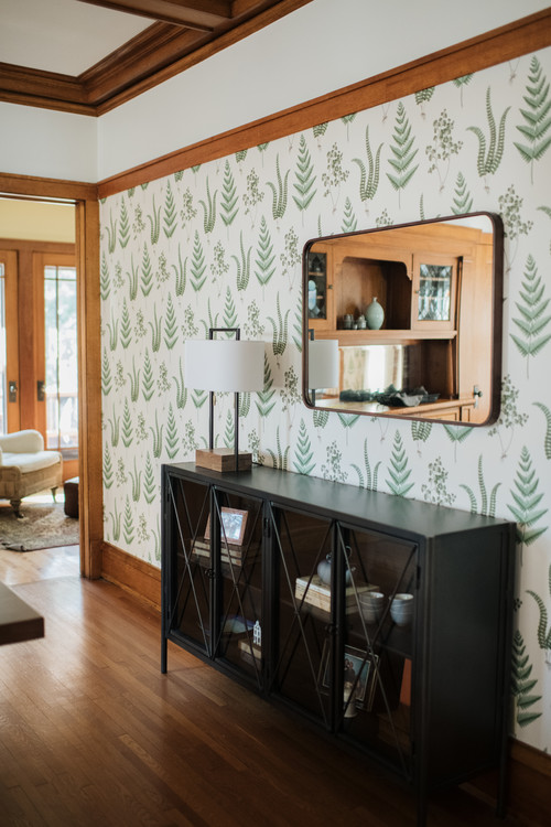 Fern Wallpaper in a Craftsman Dining Room