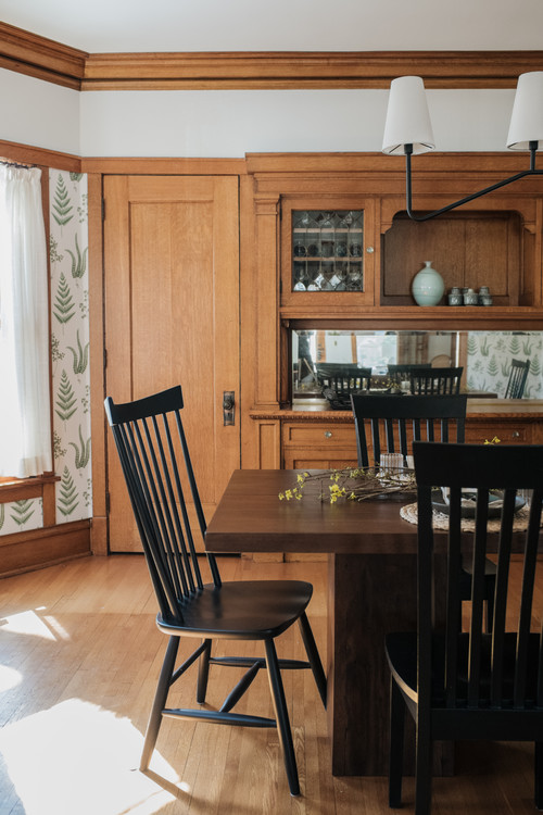 Built-in Craftsman Wood Hutch in Dining Room