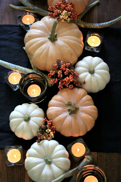 Pumpkin and Candle Centerpiece