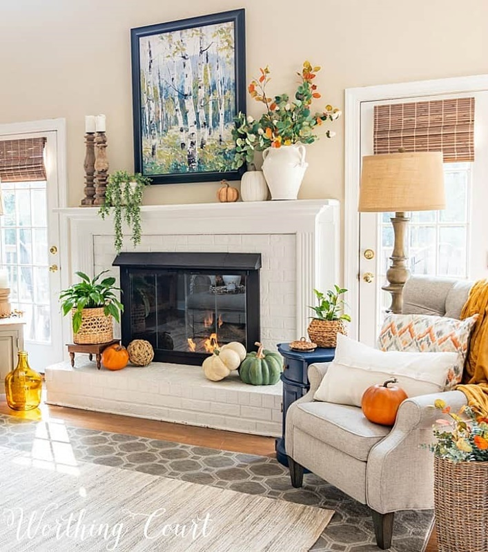 Fall Fireplace and Living Room