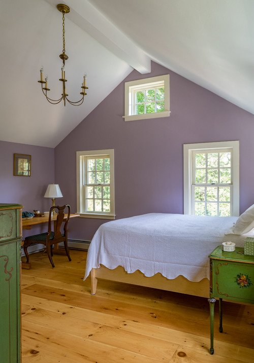 Vaulted Bedroom in an Historic Purple Farmhouse