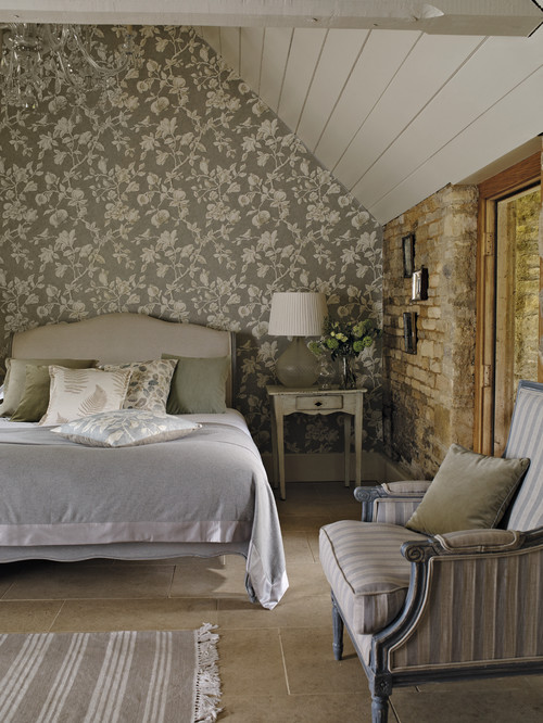 Farmhouse bedroom with wallpaper