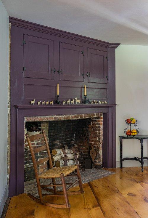Purple Farmhouse Historic Fireplace