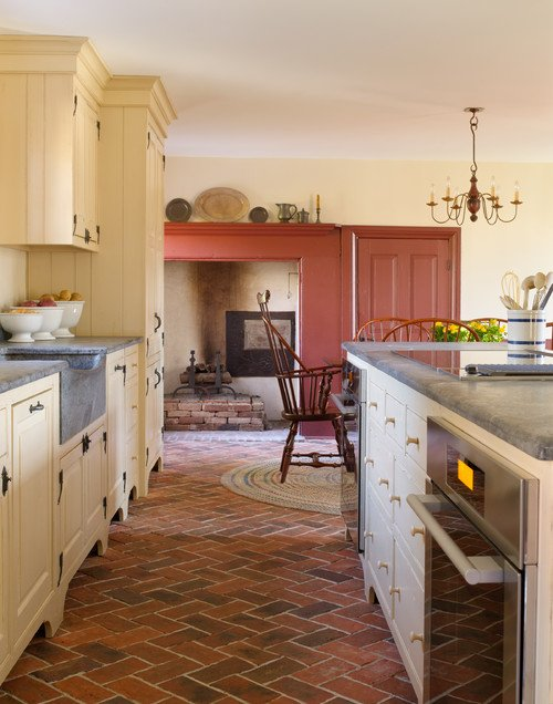 Rustic Country Kitchen in Cream and Red