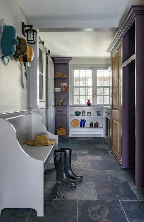 Farmhouse Mudroom with Purple Trim