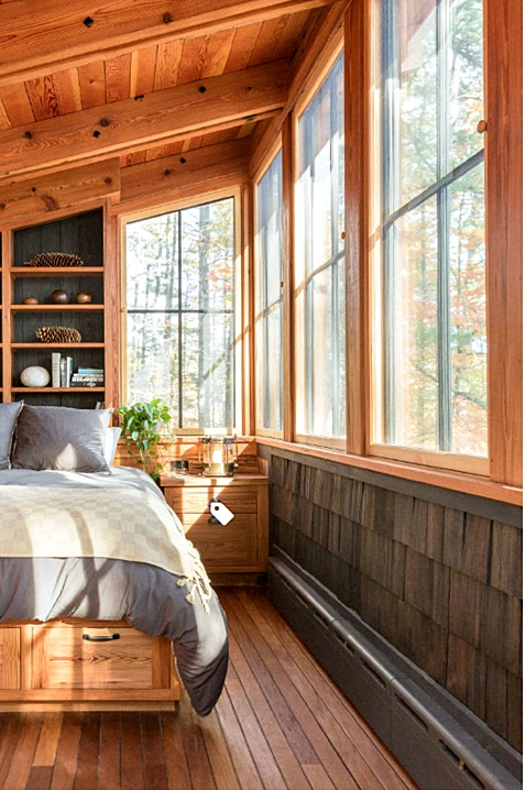 Rustic Cabin Bedroom with Wall of Windows
