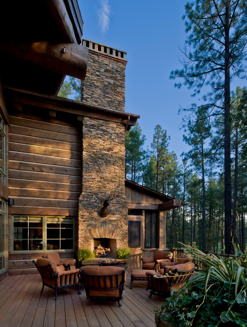 Rustic Outdoor Fireplace and Patio