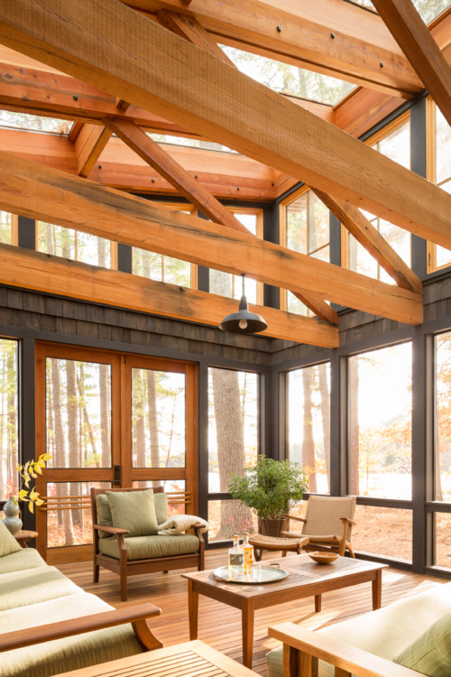 Modern Cabin Sunroom on Wooded Island