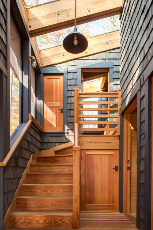 Rustic Wood Staircase in Modern Cabin