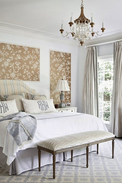 Traditional Bedroom with Wallpaper Panels