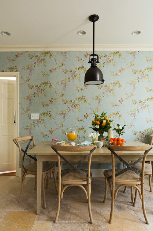Wallpaper inspiration in Scandinavian style dining room