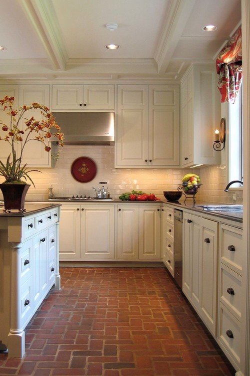Bricking Flooring in a Traditional Kitchen