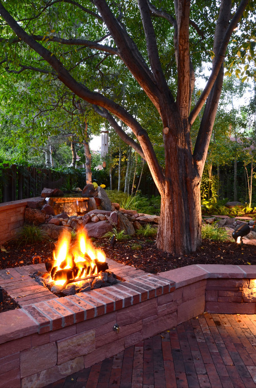 Fire Pit and Waterfall