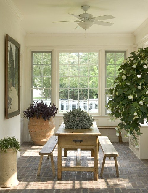 Light Filled Sun Room with Rustic Dining Set